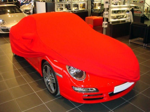 Porsche Softech Custom Indoor Car Cover in Red with Black Piping